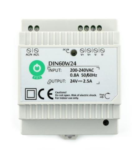 Zasilacz DIN60W24 na szynę DIN - 24V/2,5A/60W