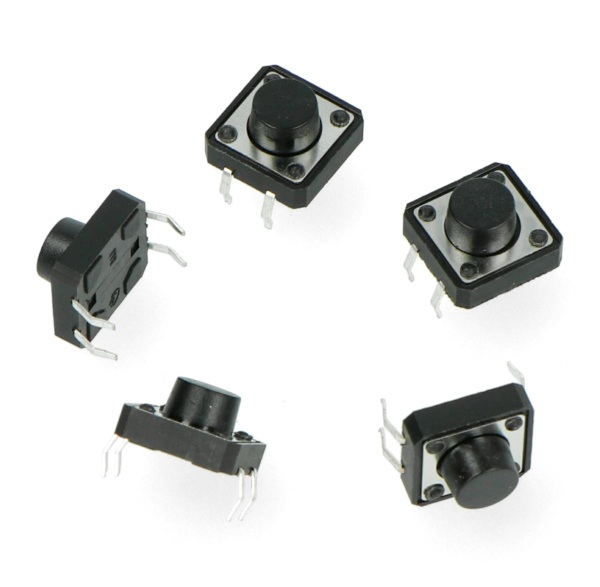Tact Switch 12x12mm / 7mm THT 4pin - czarny - 5szt.