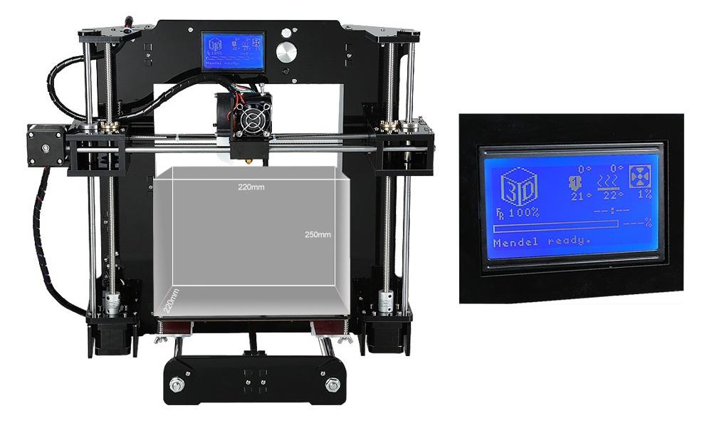 Drukarka 3D Anet A6 - rozmiar wydruku i wyświetlacz