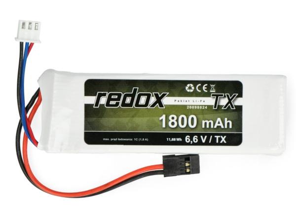 Pakiet Li-Fe Redox 1800mAh 2S 6.6V JR