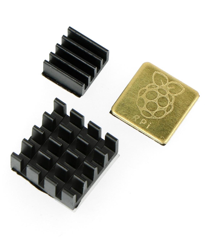 Zestaw radiatorów do Raspberry Pi z taśmą termoprzewodzącą - 3x czarne grawerowane