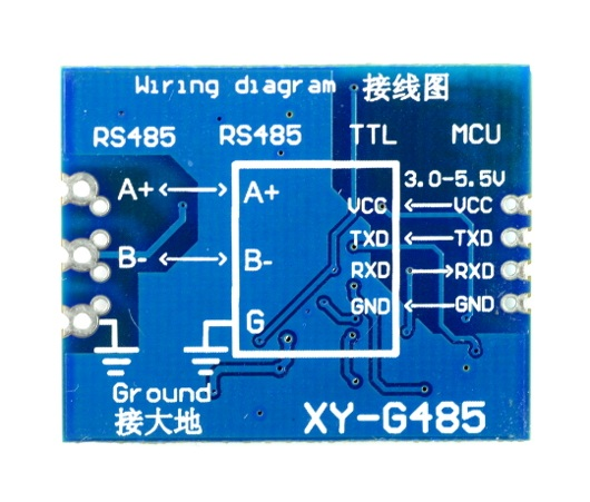 Schemat wyprowadzeń konwertera rs485-uart