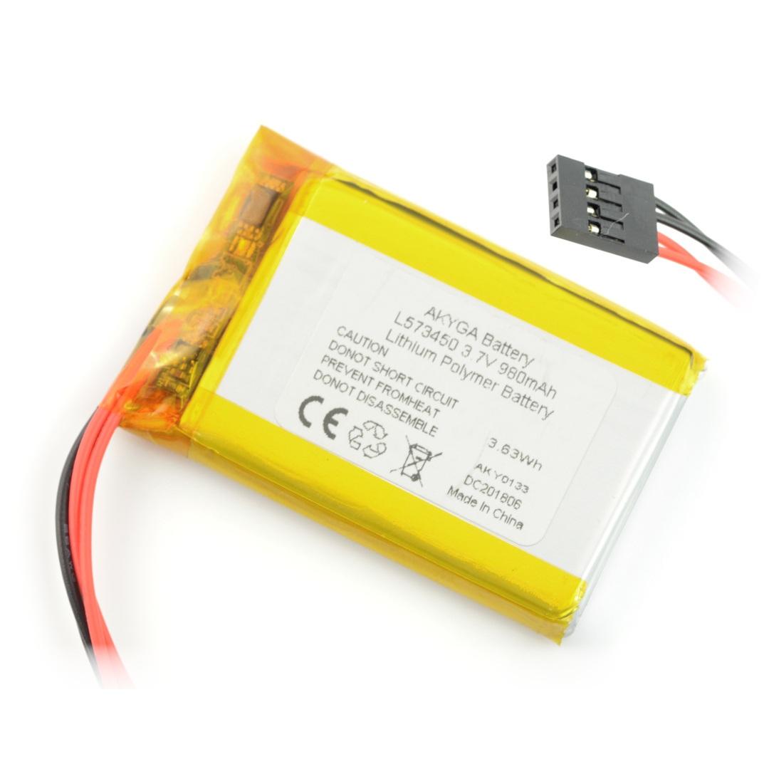 Akumulator Li-Pol Akyga 980mAh 1S 3,7V - 4 przewody - złącze żeńskie 2,54mm