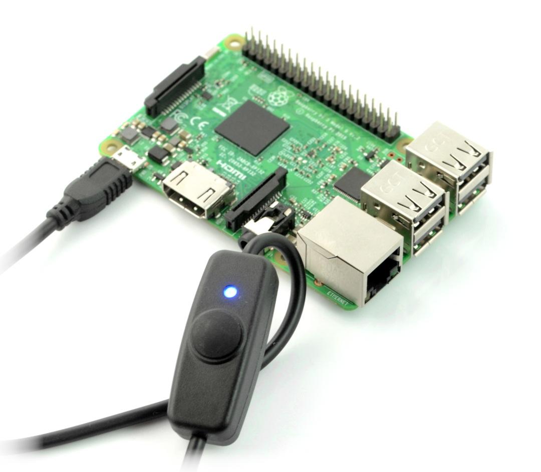 Przewód można wykorzystać do zasilania minikomputeraRaspberry Piz możliwością odłączenia napięcia w dowolnej chwili bez konieczności wyjmowania zasilacza z sieci.