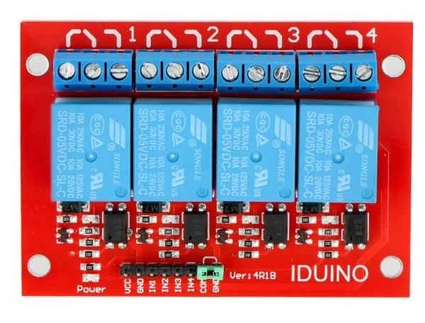 Moduł przekaźników Iduino 4 kanały - styki 10A/250VAC - cewka 5V