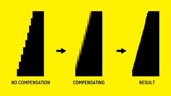 Powierzchnia wydruku przed i po zastosowaniu algorytmu Graya