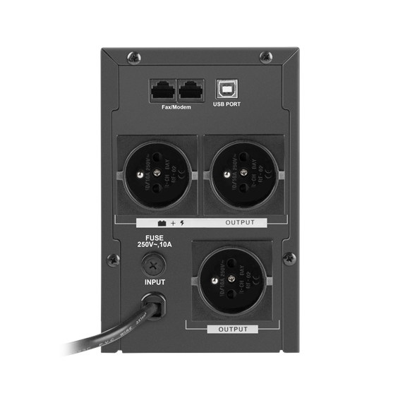 Zasilacz posiada3 gniazda typu E, 2 gniazda RJ45 i gniazdo USB typ B.