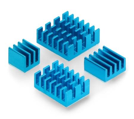 Zestaw radiatorów do Raspberry Pi 4B - niebieskie z taśmą termoprzewodzącą - 4szt.