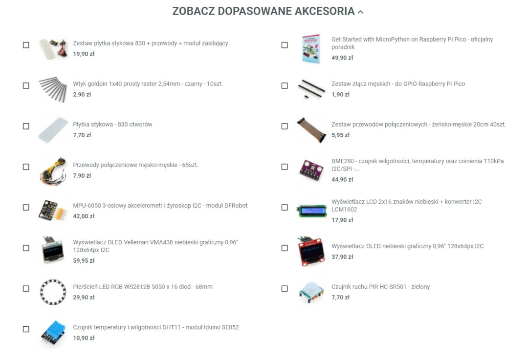 Akcesoria dla Raspberry Pi Pico