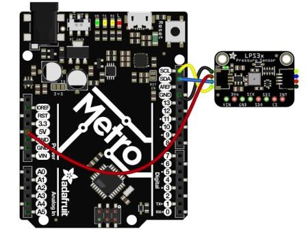 Przykładowy schemat podłączenia czujnika ciśnienia z wykorzystaniem złącz STEMMA QT i płytki Metro, zgodnej z Arduino.