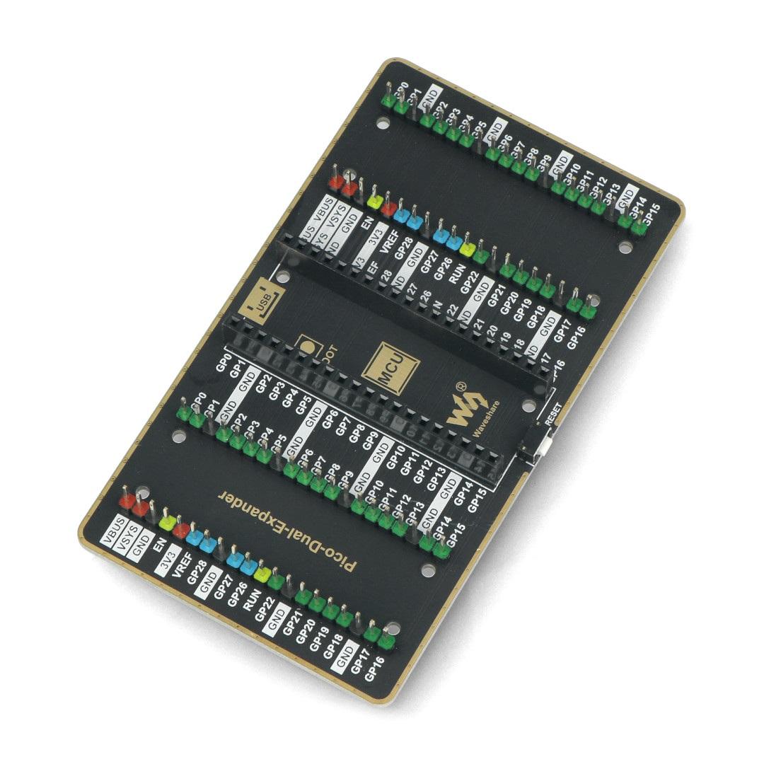 Ekspander posiada miejsce na jedno Raspberry Pi Pico oraz dwa moduły dodatkowe.