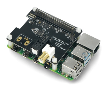 Przedmiotem sprzedaży jest karta dźwiękowaHiFiBerry Digi2 Pro. Minikomputer Raspberry Pi można kupić osobno w naszym sklepie.