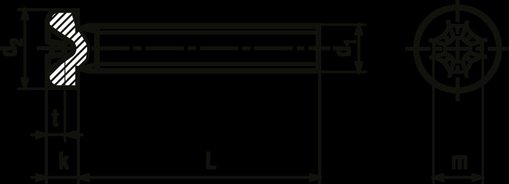 Przekrój śruby M2,5x20mm