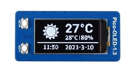 Wyświetlacz OLED do Raspberry Pi Pico wyprodukowany przez firmę Waveshare.