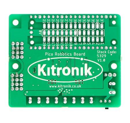 Moduł firmy Kitronik do sterownia silnikami krokowymi, silnikami prądu stałego oraz serwomechanizmami.