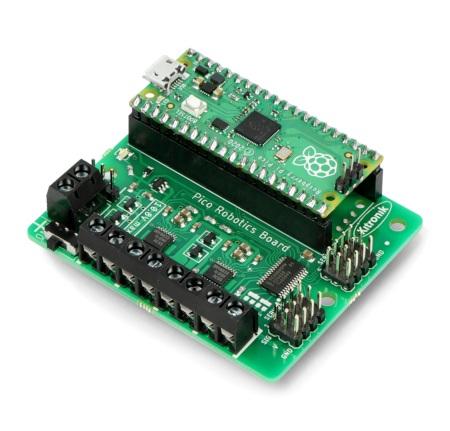 Połączenie sterownika silnika z Raspberry Pi Pico.